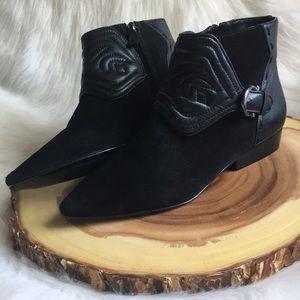 Zara leather side zip booties